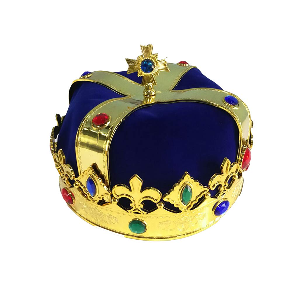 BaronHong Prince King Crown Halloween Festival Show Birthday Party Deco(blue,M)