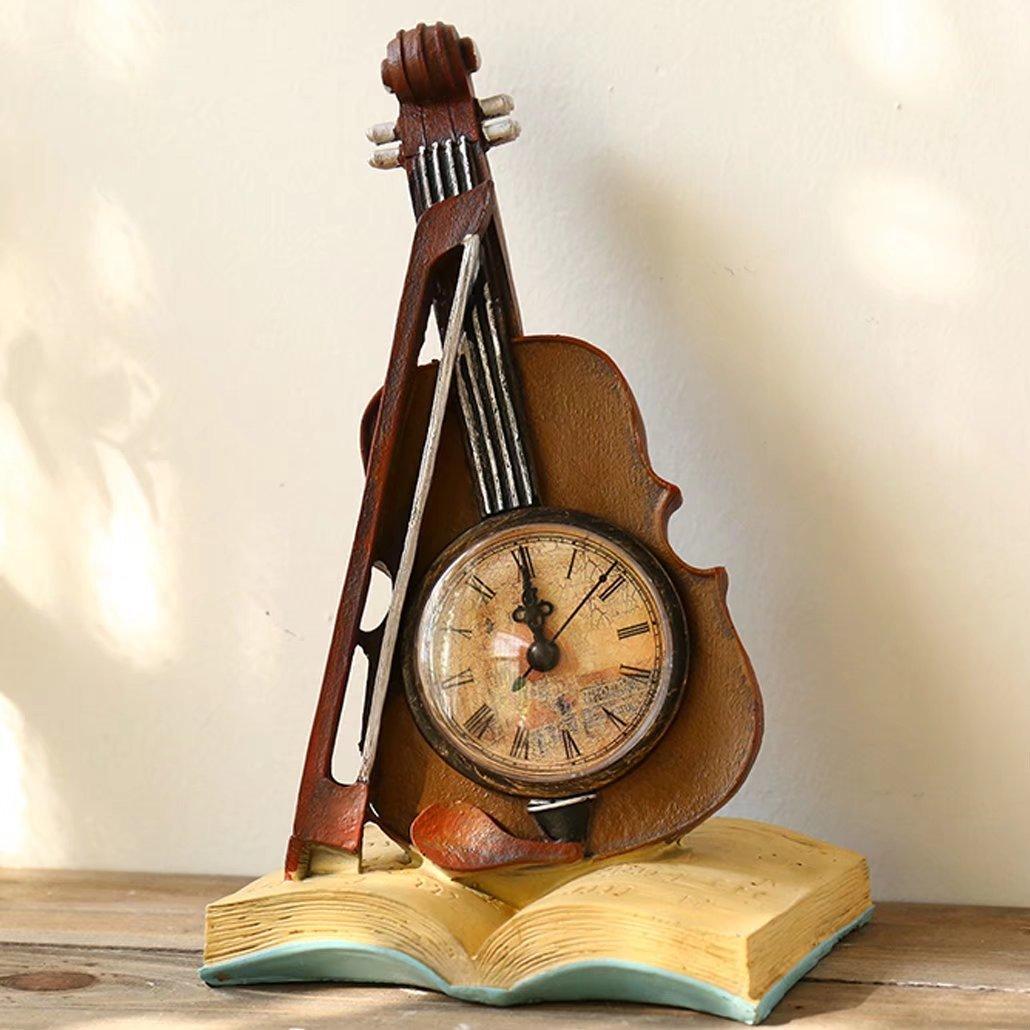 UNUSUAL 置き時計 クロック バイオリン スタンド オブジェ インテリア 書斎 創意 貯金箱 兼用 部屋を飾り 時計 引越し祝い 誕生日プレゼント 可愛い 装飾品 新築祝い B074X4J8CCE