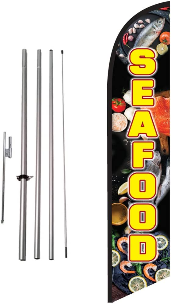 Seafood Feather Flag Kit with Ground Spike, Outdoor Restaurant Advertising Swooper Flag Sign by Feather Flag Nation