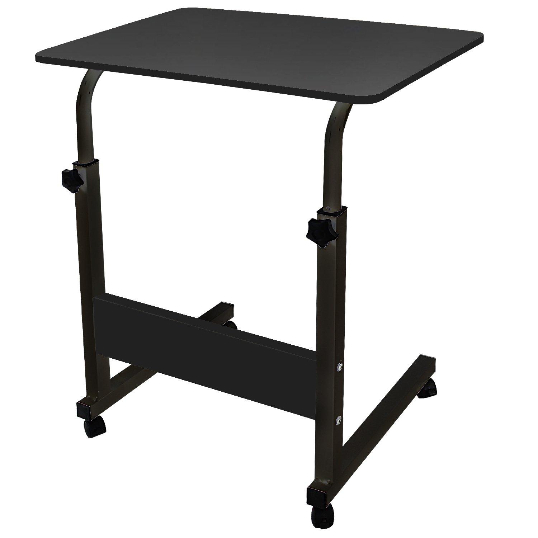 DL Furniture - Adjustable Height Laptop Desktop Table Stand, Over Bed Side Table with wheels | Metal Frame & Black Surface