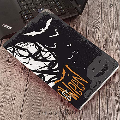 Case for Samsung Galaxy T820 T825 Slim Folding Stand Cover PU Tab S3 9.7,Vintage Halloween,Halloween Themed Image with Full Moon and Jack o Lanterns on a Tree Decorative,Black White -