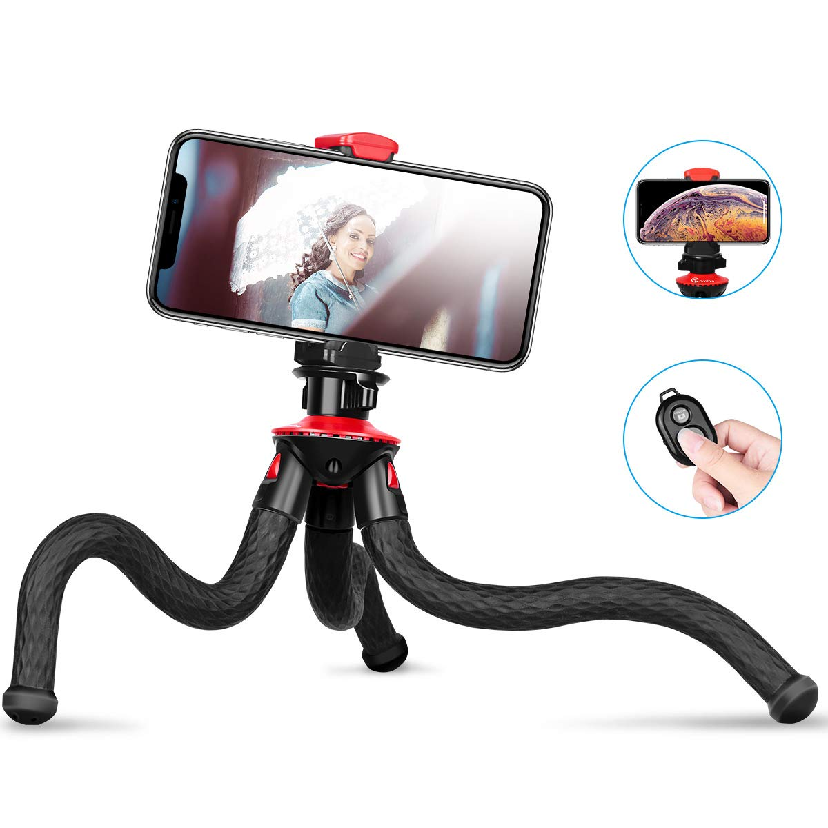 GooFoto Flexible Tripod, Phone Tripod for iPhone, Waterproof Smartphone Tripod for Samsung with Bluetooth Remote, Camera Tripod with 1/4'' Screw, Bendy Tripod with Cell Phone Clip