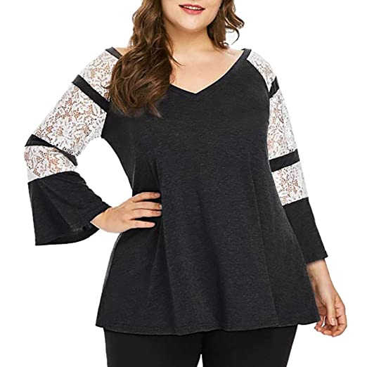 7863e4406b5 Howley Top Women Casual Shirt Plus Size Long Sleeve Lace V-Neck T-Shirt  Tops Blouse Loose Polo at Amazon Women s Clothing store