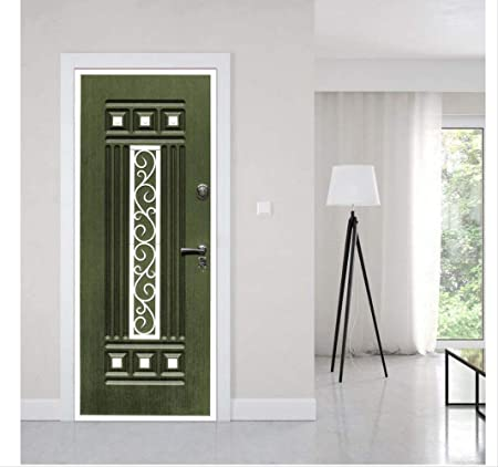 DACDAB 3D Pegatinas De Puertas Papel Pintado Dark Green Gate Murals PVC Wallpaper Extraíble Autoadhesivo Adhesivos De Pared Decoración del Hogar 77X200Cm: Amazon.es: Hogar