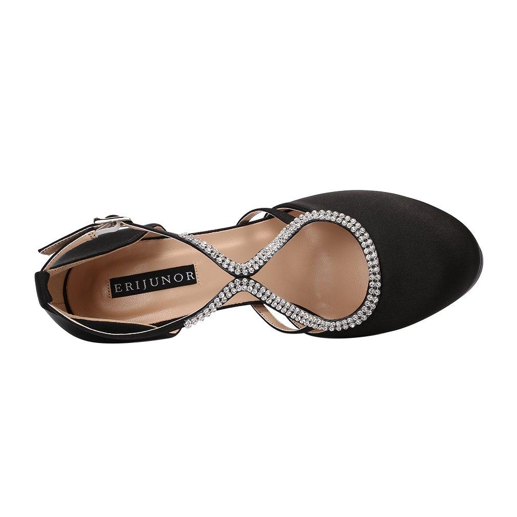 ERIJUNOR E0260D Women Comfort Low Heel Closed-Toe Ankle Strap Platform Satin Bridal Wedding Shoes Black Size 7 by ERIJUNOR (Image #3)
