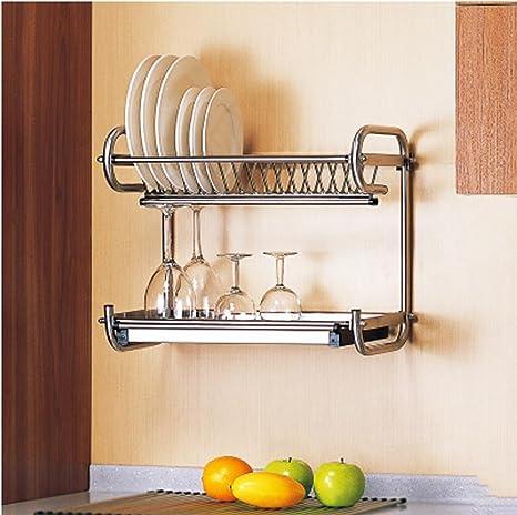 SQL escurreplatos de acero inoxidable 304 de drenaje tazón de fuente en los estantes de canasta desagüe cocina goteo doble pared