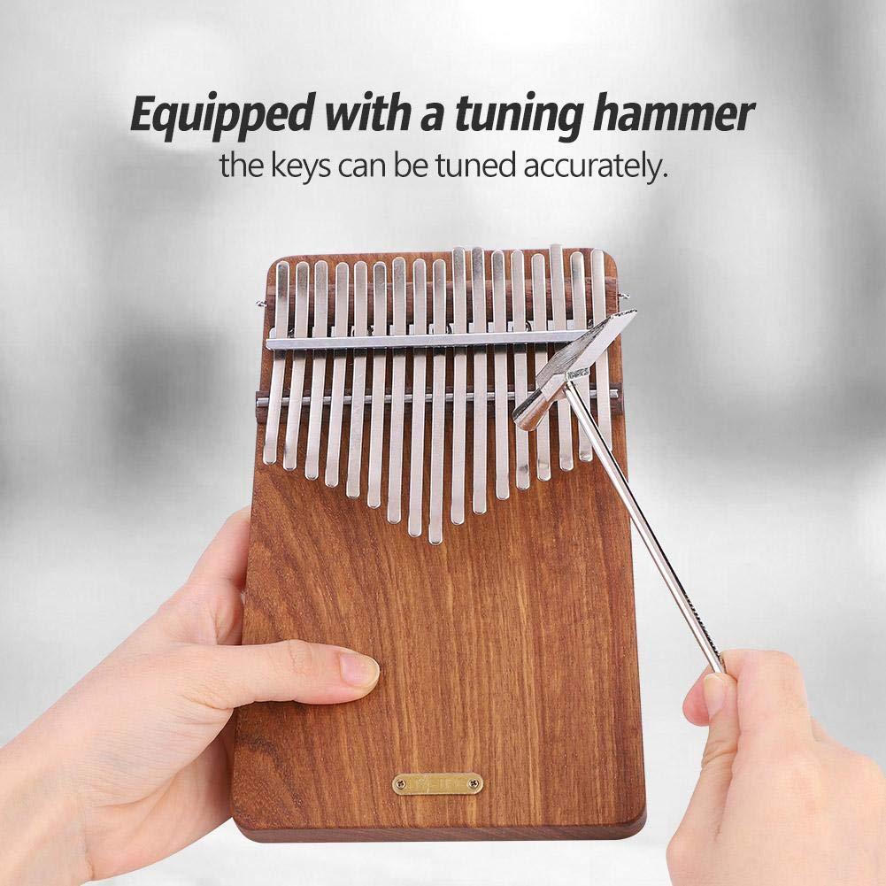 17 keys Kalimba Thumb Piano kit,Portable Thumb Piano Pterocarpus Erinaceus Wooden Body with Tuning Hammer,Pickup,Decorative Tassel Chain,Tremolo chain,Carry Bag by Yosoo- (Image #2)