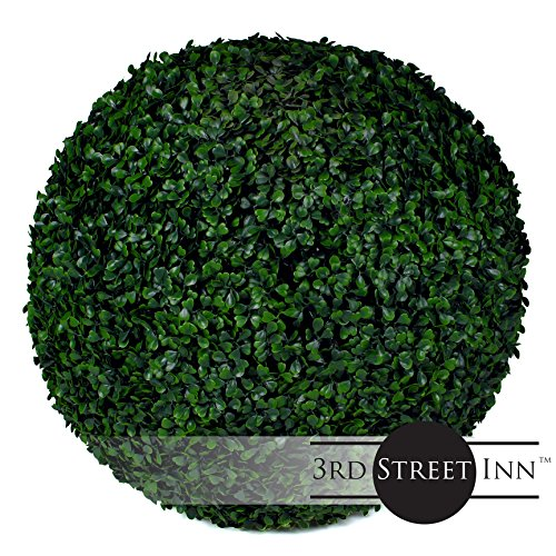 Boxwood Topiary Ball - 19'' Artificial Topiary Plant - Wedding Decor - Indoor/Outdoor Artificial Plant Ball - Topiary Tree Substitute (2, Boxwood) by 3rd Street Inn