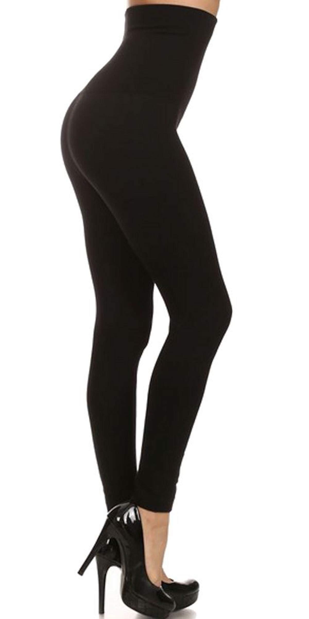 8Layer's No More Muffin Top! High Waisted Tummy Control Leggings - Compression Top - Slimming Leggings - Fleece & Non Fleece Leggings - Contours Waistline (Non French Terry, Black)