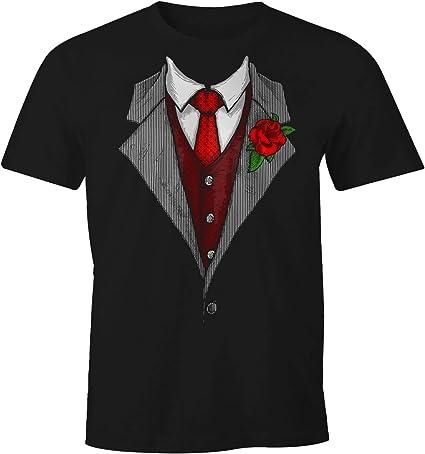 MoonWorks - Camiseta para Hombre, diseño con Corbata Negro S: Amazon.es: Ropa y accesorios