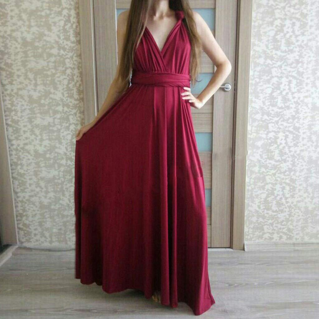 Bohemia Dress for Women,Casual Floral Print Long High Waist Split Dress Casual Sleeveless Sling Dress Han Shi