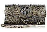 PIJUSHI Ladies Designer Studded Embossed Crocodile Evening Party Clutch Purse Wallet Handbag (65113, Black/Gold)