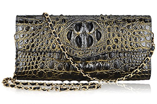 PIJUSHI Ladies Designer Studded Embossed Crocodile Evening Party Clutch Purse Wallet Handbag (65113, Black/Gold) by PIJUSHI