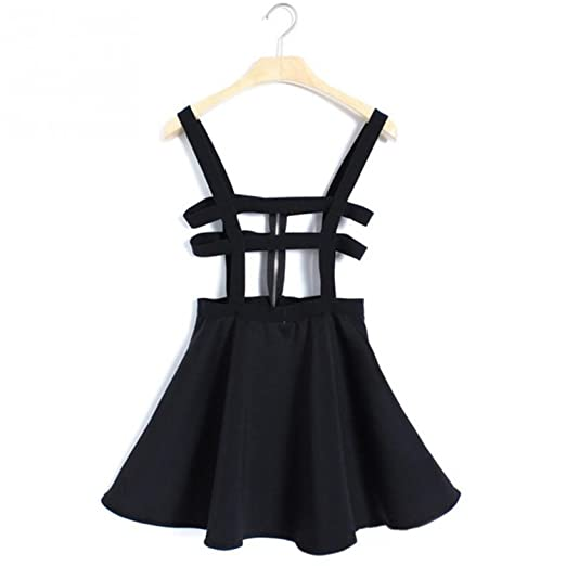 0b09b4bd375 Nice Back Women A-Line Skirt Overall Pleated Suspender Skirt Braces Hollow  Out Bandage Mini