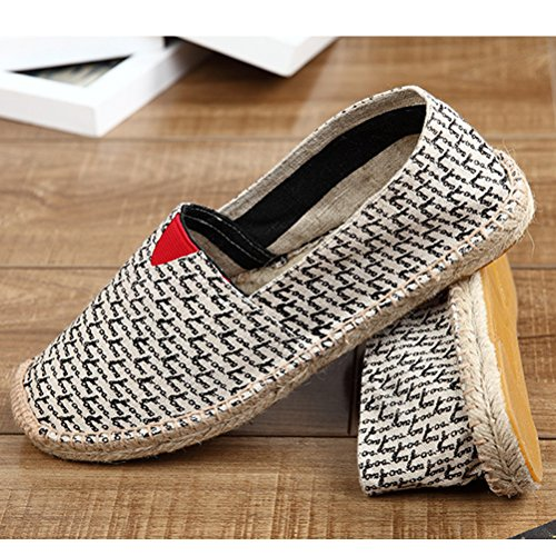 Vogstyle Espadrilles Unisex en Toile Cousue Chaussure de Marche Semelle Caoutchouc Mode Corde Tressée Style 11 Noir njCdkX