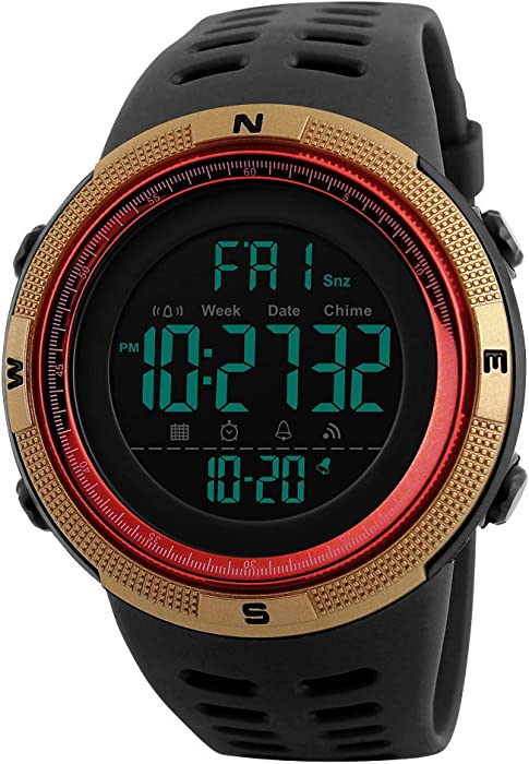 Amazon.com: Mens Digital Outdoor Sports Watch Waterproof Military Stopwatch Countdown Auto Date Alarm (SK 1251 Gold Red): Watches