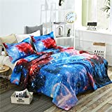 YOUSA 3d Galaxy Starrying Night Comfoter Bedding Set Oil Printing Outer Space Comfoter Sets Kids Bedding Set (Full/Queen,02)