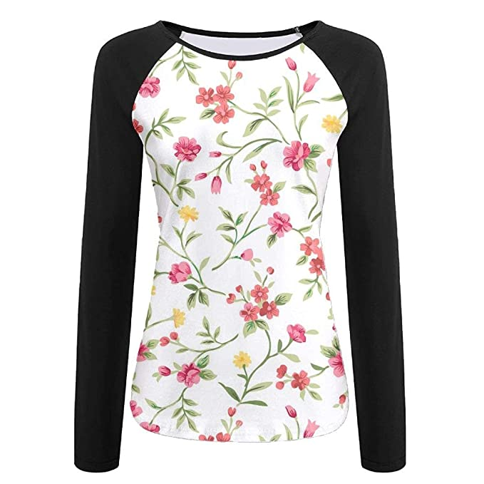45e528a31 JRMM Flowers 3D Women Creative Print Graphic Tee Long Sleeve T-Shirt Long- Sleeved