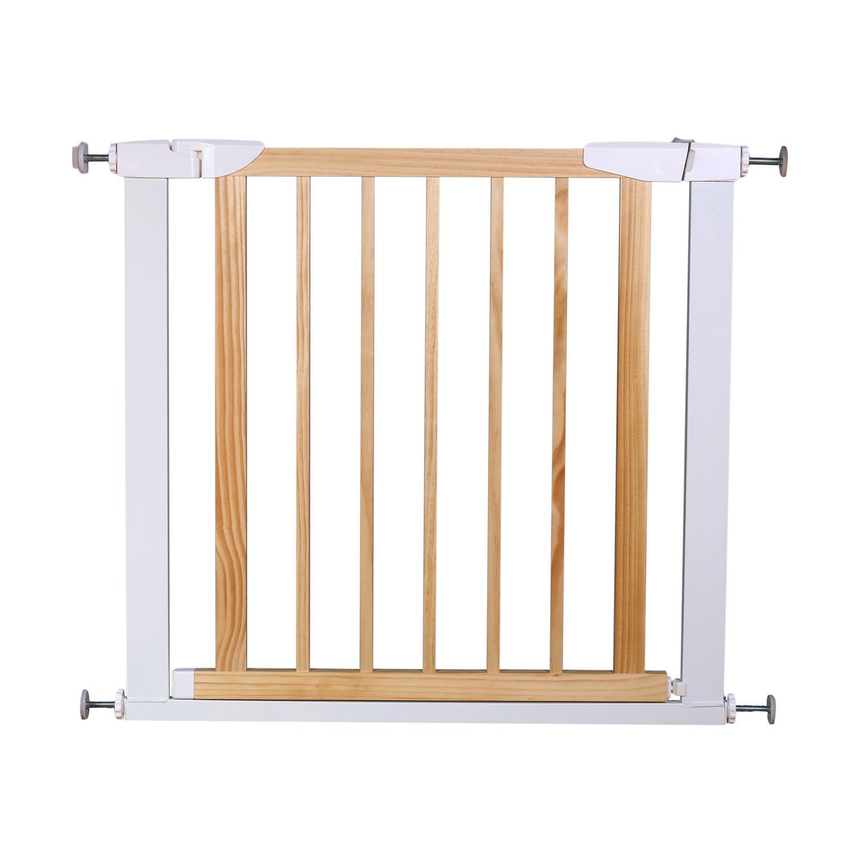 Fairy Baby Multi Use Wood & Metal Walk Thru Gate,White,Fit Spaces 76.38''-81.89''