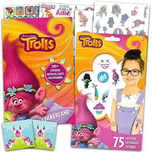 Trolls Stickers and Tattoos Party Favors Pack -- Over 295 Stickers and 75 Temporary Tattoos with 2 Bonus Licensed Stickers (Trolls Party Supplies)