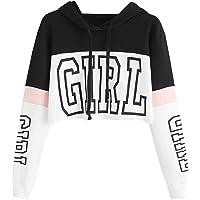 Sudaderas Adolescentes Chicas, Sudaderas con Capucha Mujer Cortas Otoño Girl Estampado Manga Larga Patchwork Primavera…