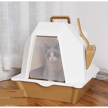 QIQI Aseo para Gatos Caja De La Litera del Gato Anti ...
