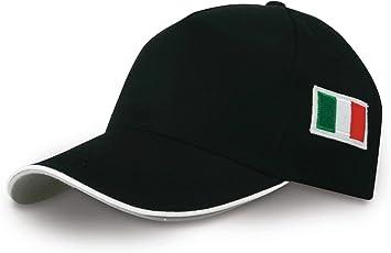 Gorra con visera y bordado con la bandera italiana, color negro ...
