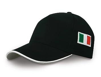 Gorra con visera y bordado con la bandera italiana, color negro: Amazon.es: Deportes y aire libre