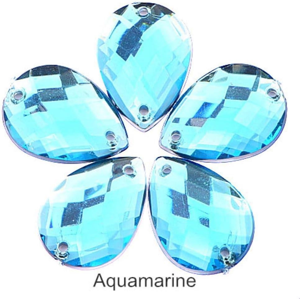 PENVEAT Color Mezclado lágrima Coser en Diamantes de imitación Acrílico Brillo Rhinestone Flatback Drop Coser Diamantes de imitación para la Prenda B3816, Aguamarina, 13x18mm-100pcs