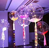 18 Inch 5/10/15/ PCS Led BoBo Balloon Flashing Color, Fillable Transparent Balloons with Helium, Great for Christmas Party, Decorations, Wedding and Party Decoration Lasts 72 hours. US Seller (50)