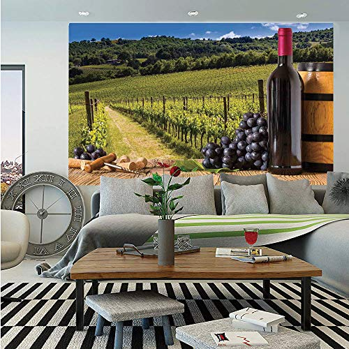 SoSung Winery Decor Wall Mural,Red Wine Bottles with Grapes on Timber Board and Tuscany Italian Terrace Scenery,Self-Adhesive Large Wallpaper for Home Decor 55x78 inches,Green Blue Brown