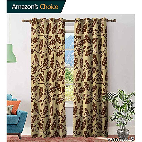 Big datastore Kid Room Custom Curtains,Yellow and BrownOak Leaf Acorn Tree Branch Growth Flourishing Nature Buds Mother Earth Print,Set of 2 Pieces,Redwood,W84 xL96