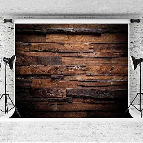 (Kate 10x6.5ft Brown Wood Backdrop for Photographers Retro Wood Wall Background Cotton Cloth Seamless)