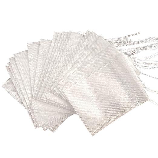 Basico Nuevas bolsitas de Té 100 Piezas/Lote Bolsas de Té Vacías DE 5.5 x 7 cm con Filtro de Sello de Curación de Cadena