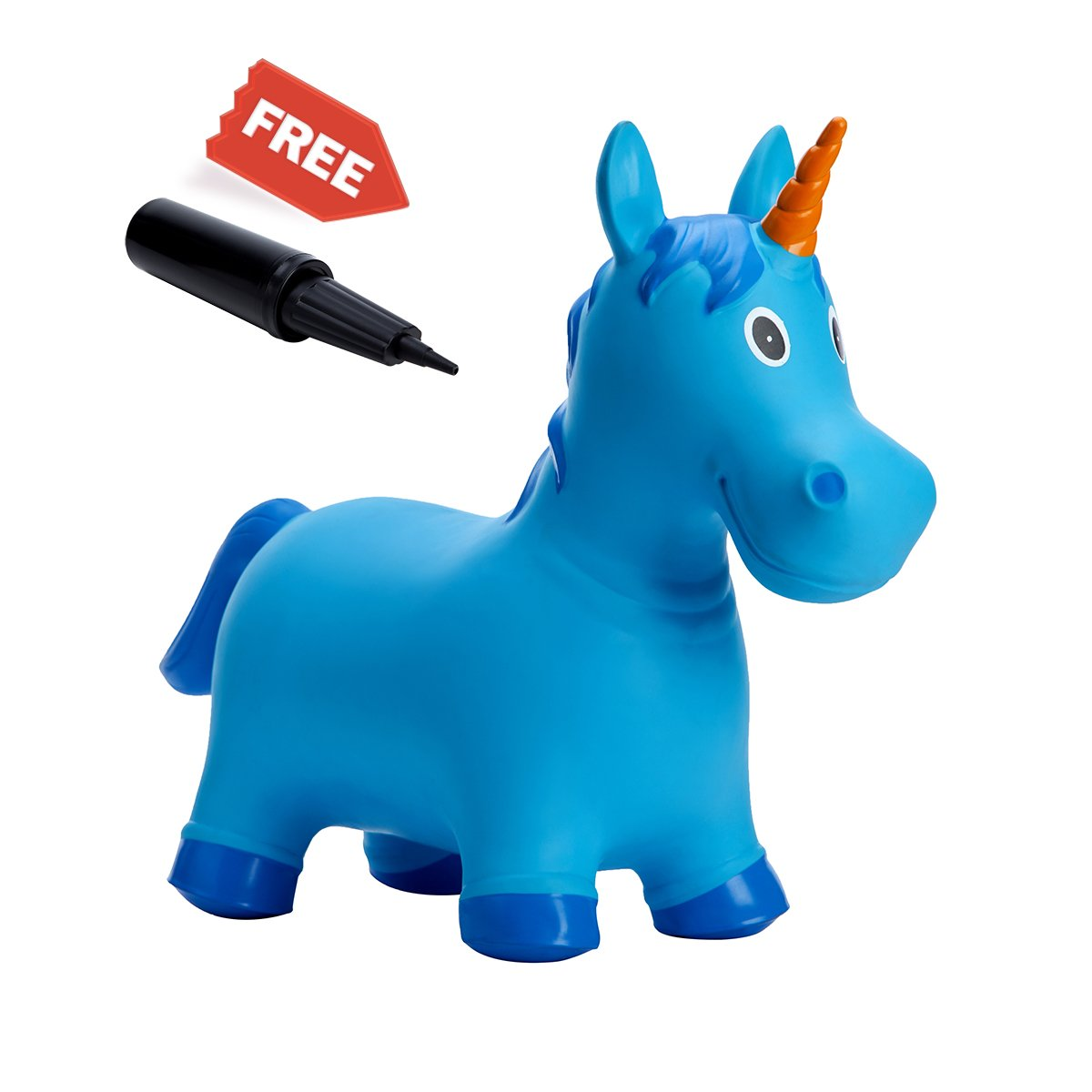 Babe Fairy Jumping Animals,Inflatable Bouncer Seat,Horse Hopper Ride-on Toddlers Toys for Children (Blue Unicorn)