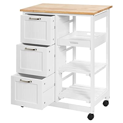 Buy Petsite Kitchen Island Cart With Storage On Wheels Small Rolling Island Table With Drawers Shelves For Home Kitchen White Online In Germany B095779q2g