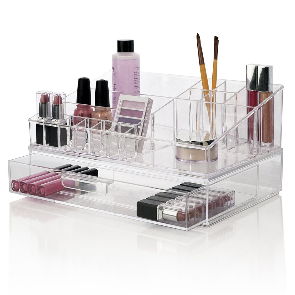 Design Cosmetic Organizer amazon com premium quality clear plastic cosmetic and makeup palette organizer with 1 drawer audrey collection