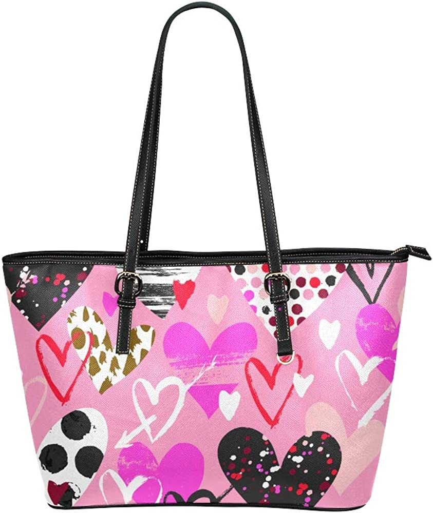 Hands Bags For Women Art Cartoon Love Heart-shaped Print Leather Hand Totes Bag Causal Handbags Zipped Shoulder Organizer For Lady Girls Womens Large Totes For Women