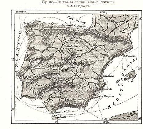 Rieles de la Península Ibérica. España Portugal. Mapa de dibujo 1885 - Mapa antiguo - Mapa antiguo - Mapa vintage - Mapas impresos de España: Amazon.es: Hogar