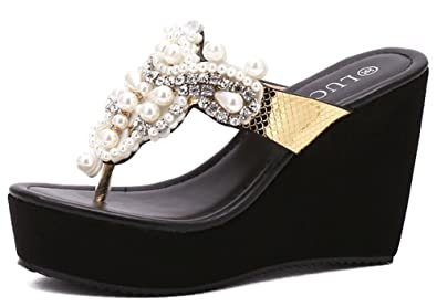 4f182c6d4 IDIFU Women s Unique Beads Rhinestones Platform High Heels Wedge Flip Flops  Thong Sandals (Black