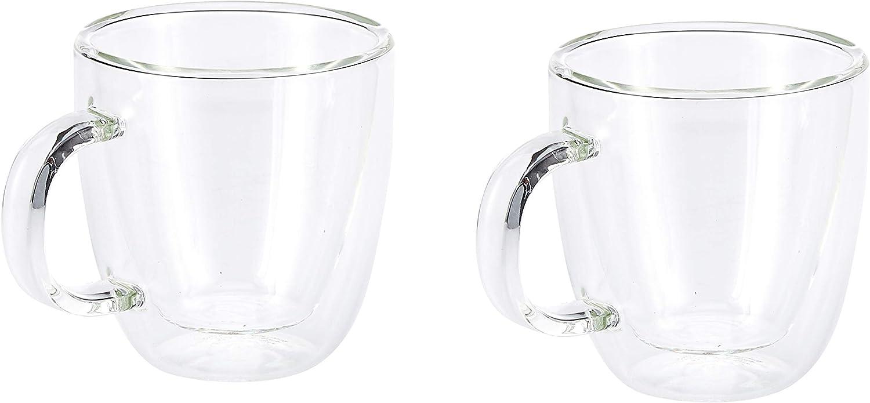 Bistro 15 cl Set de 2 Mugs Espresso en Verre Double Paroi avec Anse 10602-10 Bodum