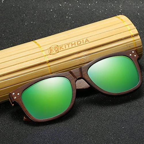 Gafas de de Polarizadas madera de espejos Bambú Gafas Sol hombres vintage Gafas de modelo Gafas KITHDIA y de Madera sol los de Verde moda de de anteojos Lentes sol de 0wWqxg