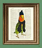 The Lovebird is ready for winter in their hat and scarf Print beautifully upcycled vintage dictionary page book art print altered