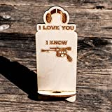 Phone Charging Station - I Love You I Know - Raw Wood