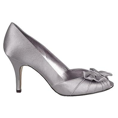 Nina Womens Forbes Peep Toe Classic Pumps, Silver, Size 9.0