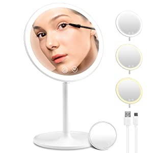 Rechargeable Led Makeup Mirror with Lights 3 Color Lighting, Lighted Vanity Mirror with 46 Dimmable Lights, 90° Rotation and Touch Screen Portable Cordless Beauty Cosmetic Mirror for Bathroom Desktop