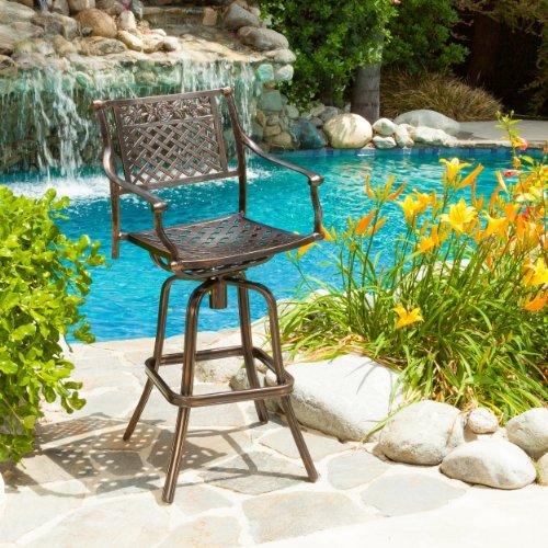 Sierra Outdoor Cast Aluminum Swivel Bar Stool (Outdoor Swivel Bar Chairs)