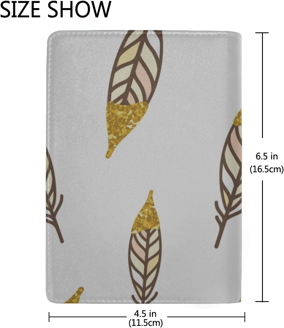 Woman Passport Cover Beautiful Gold Glitter Feathers Stylish Pu Leather Travel Accessories Vintage Passport Cover For Women Men