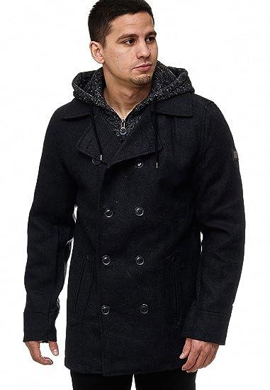 fade6ede3ed5 Indicode Herren Cliff Jacke Lange Jacke aus Hochwertiger Wollmischung mit  Stehkragen  Amazon.de  Bekleidung
