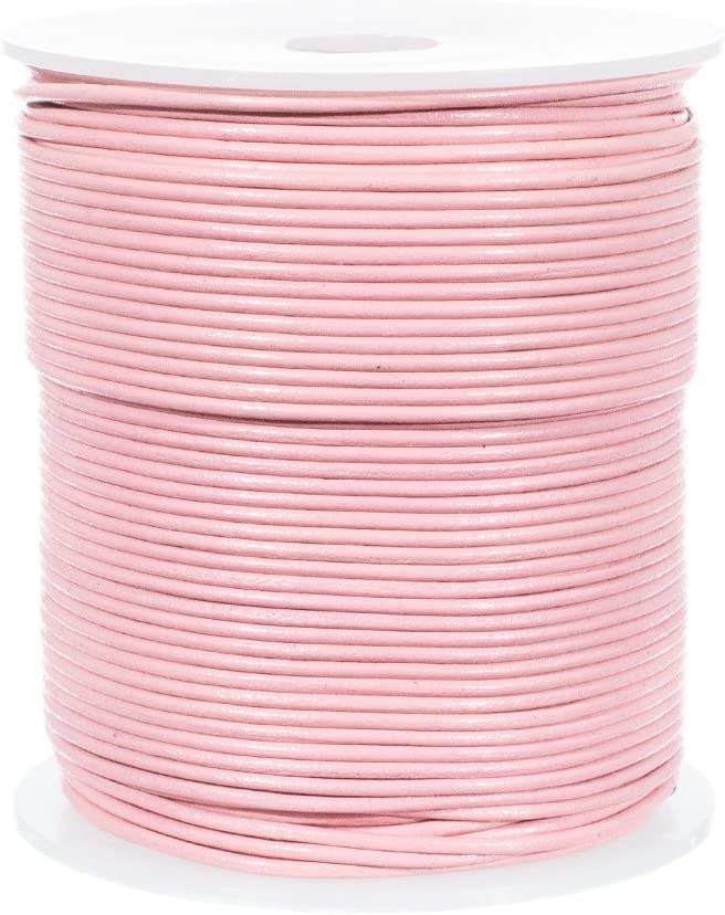 2mm, Rose 25 Yards of Solid Round 2mm Rose Real and Genuine Leather Cord for use as Braiding String
